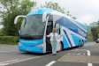 The Conservative IN battlebus pulls up in Pershore with West Worcestershire MP Harriett Baldwin onboard