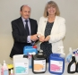 Biotech International's Colin Mister gives Harriett Baldwin MP a demonstration of its ground-breaking cleaning products