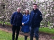Harriett tours apple orchards in Wichenford with Rod Lees, Head of Orcharding at Bulmers and Gabe Cook of Heineken