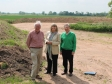 Bryan Haines, Harriett Baldwin MP and Michael Briggs visit the new flood defences at Callow End