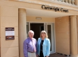 Harry Tanner (left) and Harriett Baldwin MP visit assisted living accomodation at Cartwright Court, Malvern.