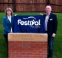Harriett Baldwin MP and Mike Moyles unveil the foundation stone at Clarence Park