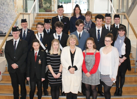 Harriett Baldwin MP (bottom row, centre) with award recipients and officers of the Malvern's Boy's and Girl's Brigade Companies.