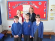 Eckington School: Sarah Breakwell and Harriett Baldwin MP with pupils Evan, Ben and Iona