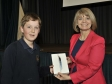 Harriett Baldwin presents an iPad Mini donated by 3SDL to competition winner Ewan Williams