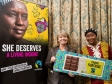 Harriett Baldwin MP (left) is briefed by Fairtrade director Awa Traoré.