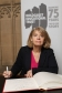 Harriett Baldwin MP signs the Book of Commitment in Westminster, Jan 2020