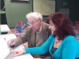 Ivor Stephens and niece Grace Elliott get to grips with Ivor's first email at an ActivateIT course at Malvern Cube.