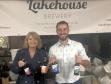 Harriett Baldwin MP with Malvern's Lakehouse Brewery owner Dan Frost