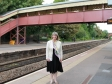 Harriett Baldwin at the newly painted Malvern Link station bridge