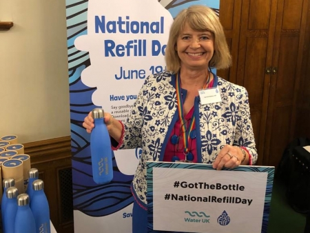 Harriett Baldwin backs the Refill campaign at an event in Westminster