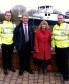 Harriett tours Upton-upon-Severn's new flood defences with Environment Secretary Owen Paterson