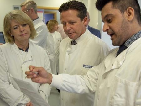 Harriett Baldwin MP, Nigel Huddleston MP tour Worcestershire Royal Hospital's Path Lab with Camran Khan, Blood Bank Manager