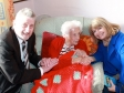 Pershore Mayor Tony Rowley and Harriett Baldwin MP meet Heathlands' oldest resident, Joan Trench.