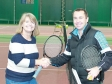 Harriett Baldwin MP shakes hands with Davis Cup star Danny Sapsford at Pershore Indoor Tennis Centre