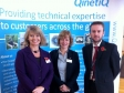 Harriett Baldwin MP, Emma Philpot, event organiser and Mark Roberts, QinetiQ