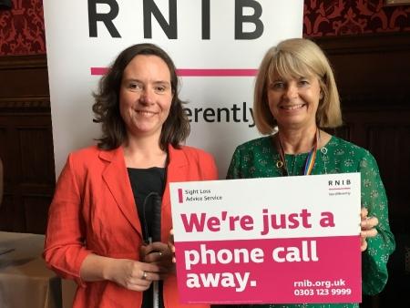 RNIB chair Eleanor Southwood with Harriett Baldwin MP