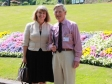 Harriett Baldwin MP and Mike Selby view Rosebank Gardens flower beds celebrating Malvern in Bloom