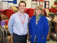 Pershore manager Robert White discusses the Chistmas postal challenge with Harriett Baldwin MP.