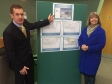 Malvern Hills Science Park chief executive Alan White shows plans for the site expansion to MP Harriett Baldwin