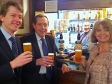 MPs Harriett Baldwin, Peter Luff and Robin Walker in the famous Strangers Bar to sample local ales from Worcestershire