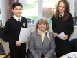 Harriett Baldwin MP is quizzed by Tenbury High year nine pupils Oscar T'eo and Abi Hall