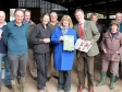 Harriett Baldwin MP is presented with the NFU's election manifesto at Bickley Farm, near Tenbury