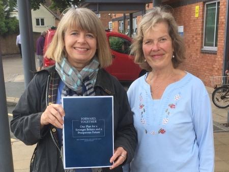 Harriett Baldwin celebrates the £8 billion NHS manifesto pledge with Councillor Val Wood
