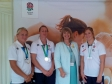 Harriett Baldwin celebratesa Rugby World Cup win with Ceri Large, Katherine Mechant and Lydia Thompson