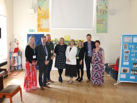 Harriett Baldwin MP meeting with local head teachers to discuss the Connecting Classrooms initiative at Wyche Primary School.