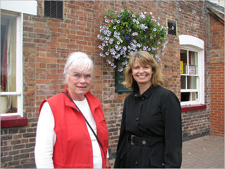 Councillor Mary Wilkinson (left) and Harriett Baldwin preparing for the rally
