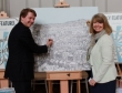 Robin Walker MP and Harriett Baldwin MP add a little colour to the Worcestershire Hour Festival of Business at Stanbrook Abbey