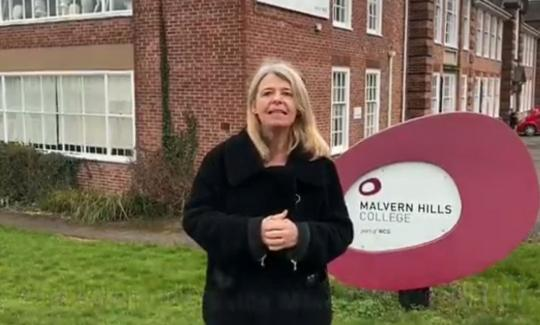 Harriett Baldwin MP outside Malvern Hills College