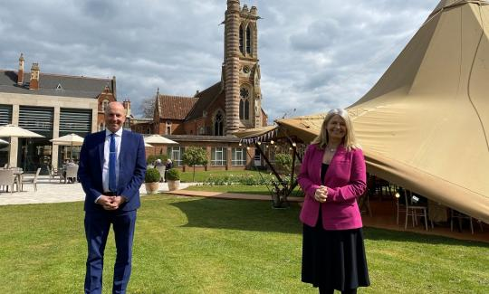Gordon Burniston, general manager of Stanbrook Abbey, with Harriett Baldwin MP
